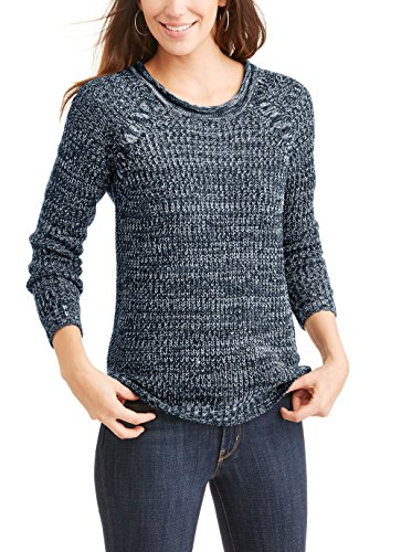 Faded Glory Women's Marled Raglan Cable Knit Pullover Sweater (XL, Navy)