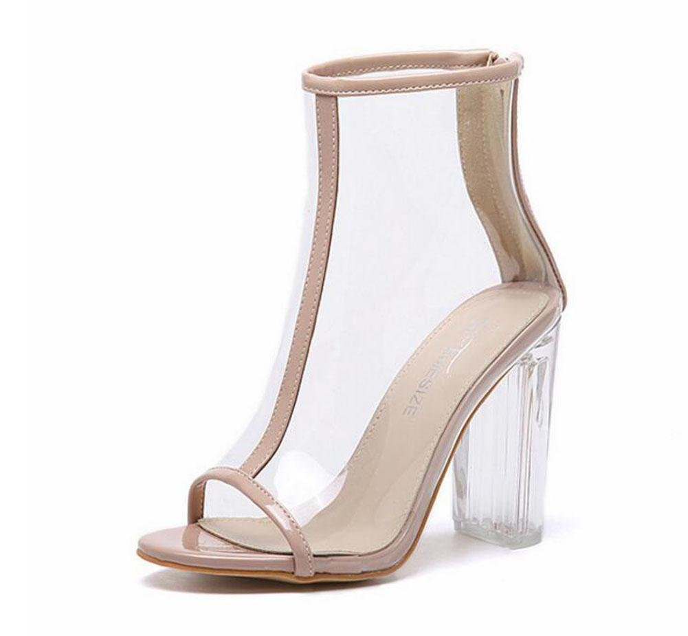 GLTER Mujeres Bombas Verano Nuevo Viento Transparente Grueso Cool Botas Sandalias De Cristal De Tacón Alto Zapatos Peep Toe Zapatos Corte , apricot , 39 39|apricot