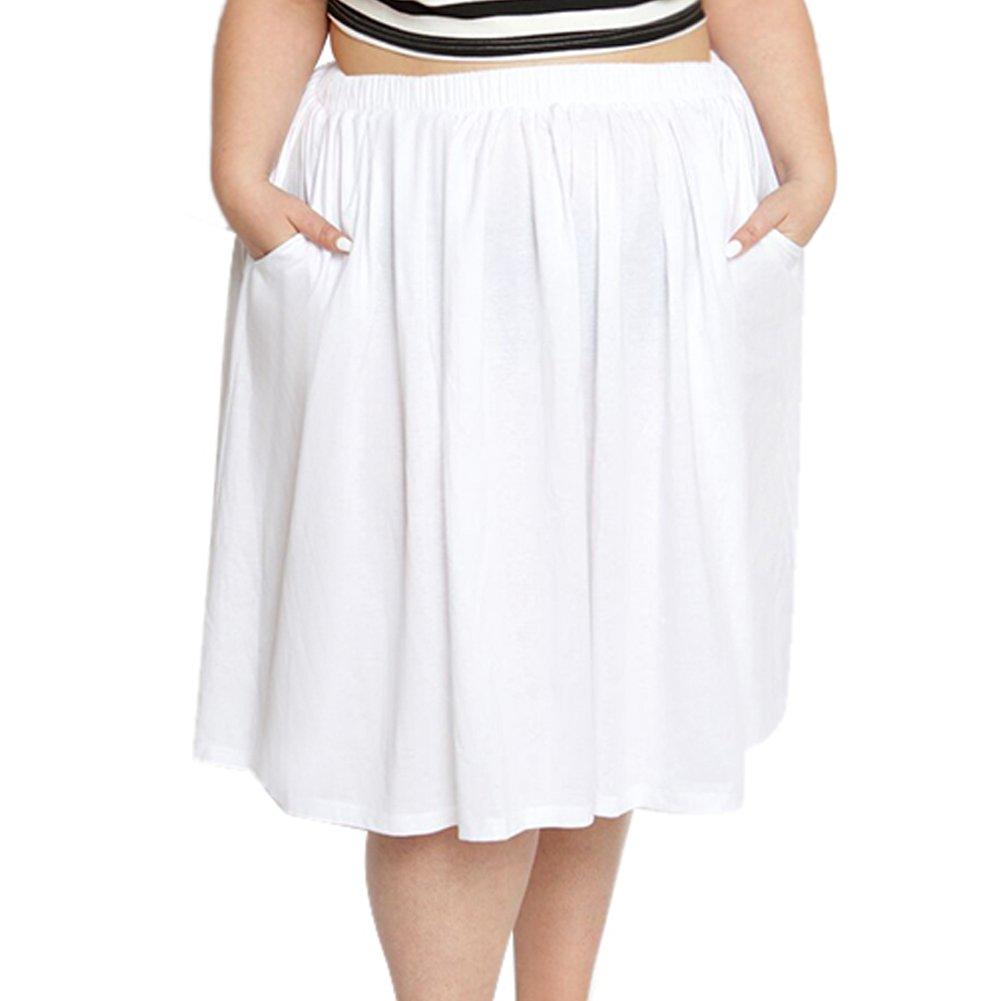 Astra Signature Women's Plus Size Elastic Waist Pleated Chiffon Midi Circle Skirt with Pocket by Astra Signature