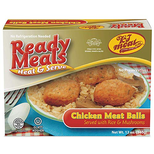 - Kosher Meals Ready to Eat, Chicken Meat Balls Served with Rice & Mushrooms (Microwavable, Shelf Stable, No Refrigeration) - Dairy Free - Glatt Kosher (12 ounce - Pack of 1)