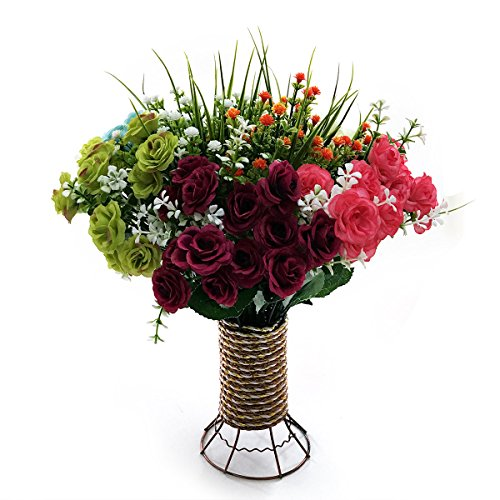 Artificial Flowers, 8 Bundles Fake Flowers Bouquet with Vase Lifelike Natural Flower Arrangements for Home Garden Party Wedding Office Decoration (8 Pack with Cylinder Shape Vase)