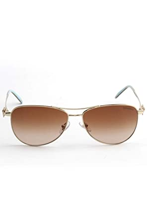1bfebd2d64211 Amazon.com: Tiffany & Co. Women TF3044 58 Gold/Brown Sunglasses 58mm ...