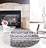 32'' Grey Black Mandala Floor Pillow Cushion Seating Throw Cover Decorative Bohemian