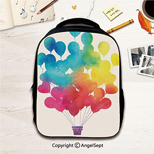 Water Resistant Carry-On Bookbag For Kindergarten Childrens,Hot Air Balloon Rainbow Colors Cute Heart Shapes Cheerful Happy Decorative Sky Blue Yellow Pink Red 12.2inches,Small Handy Foldable Camping