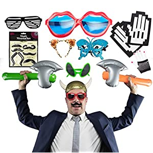 Photo Booth Props for Birthday, Bachelor or Viking Party - Accessories Party Favor Kit with Mustache, Sunglasses and Inflatable Toys - 12 Pack