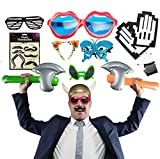 Photo Booth Props with Inflatable Toys, Funny Sunglasses and Fake Mustache for Wedding Birthday or Any Party - 12 Pack Accessories for Special Events