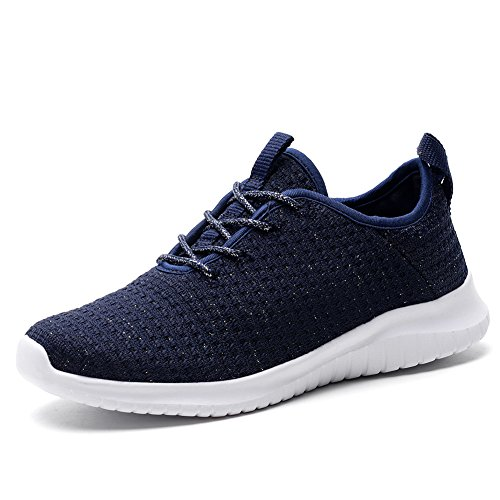 KONHILL Women's Lightweight Sneakers Gold Threads Casual Athletic Sport Walking Running Shoes, Navy, 39