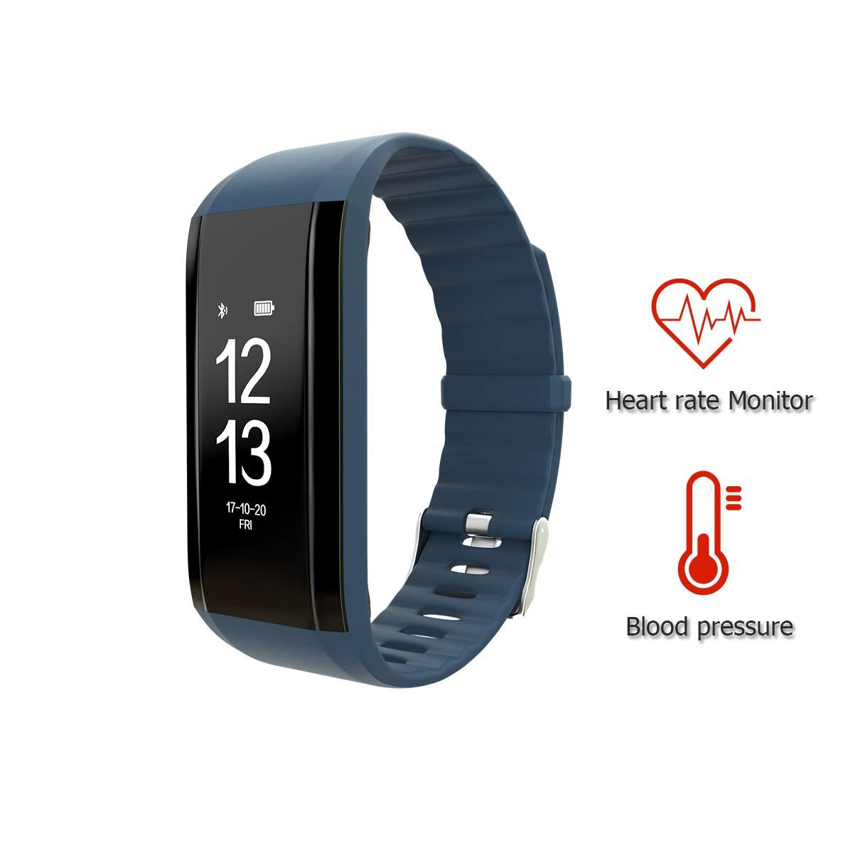 Fitness Tracker,Blood Pressure Heart Rate Monitor Waterproof Smart Bracelet Watch Pedometers Sport Gadgets Health Tracker for Kids Teens Men Women Boys and Girls(Blue)