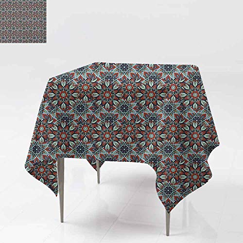 SONGDAYONE Modern Square Tablecloth Ottoman Vintage Floral Motifs from Ancient Culture Ornamental Henna Art Style Folkloric Wrinkle Free Multicolor W50 xL50 ()