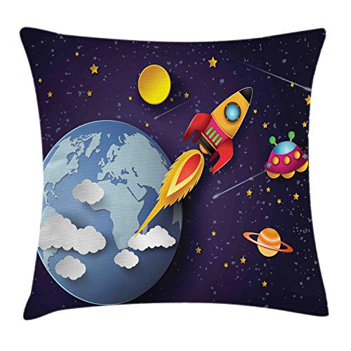 Ambesonne Outer Space Throw Pillow Cushion Cover, Rocket on Planetary System with Earth Stars UFO Saturn Sun Galaxy Boys Print, Decorative Square Accent Pillow Case, 18