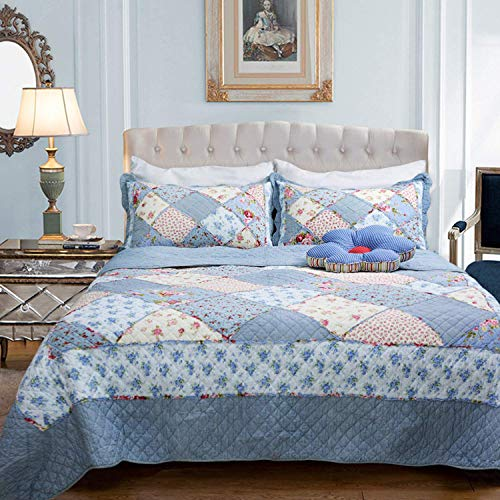 Brandream Queen Size Shabby Blue Floral Patchwork Comforter Set Cotton Quilts Set -