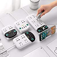 DEAMOS Power Board Strip 6 Way Outlets Socket 3 Fast USB Charging Charger Ports w/Surge Protector 1.8M