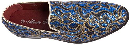Alberto Fellini Mens Loafer-Fashion Slip-On Sparkling-Glitter Royal Blue Dress-Shoes Size 11