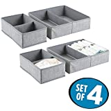 mDesign Fabric Baby Nursery Closet Organizer for Clothing, Towels, Diapers, Lotion, Wipes - Set of 4, 8 Compartments, Gray
