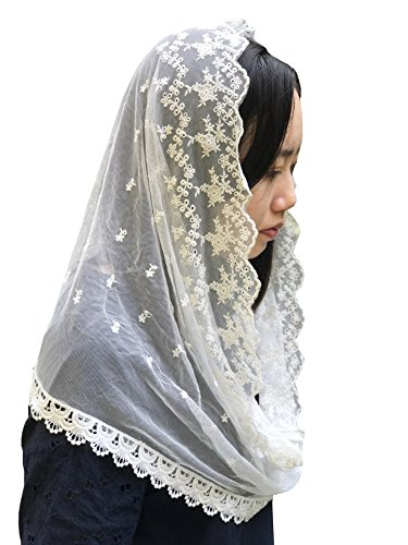 (Lemandy Adorable Catholic Lace Veil Hand Floret Embroidered Lace Chapel mantilla V16)
