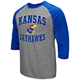 Colosseum Men's NCAA-Raglan-3/4 Sleeve-Heathered-Baseball T-Shirt-Kansas Jayhawks-Large
