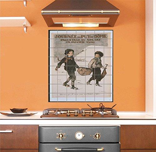 Two Boys Vintage Vertical Tile Mural Satin Finish 48