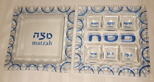 Square Fused Glass Passover Seder Plate and Matzah Tray Set