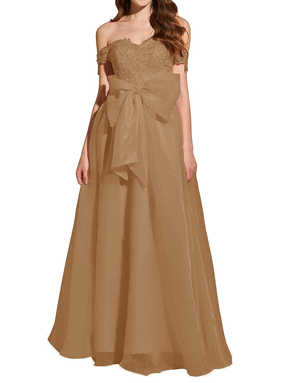 Brown Uther Formal Prom Dresses Off The Shoulder Appliques Long Evening Party Gowns Organza