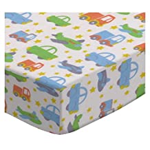 SheetWorld Fitted Crib / Toddler Sheet - Cars Trucks Planes - Made In USA - 28 inches x 52 inches (71.1 cm x 132.1 cm)
