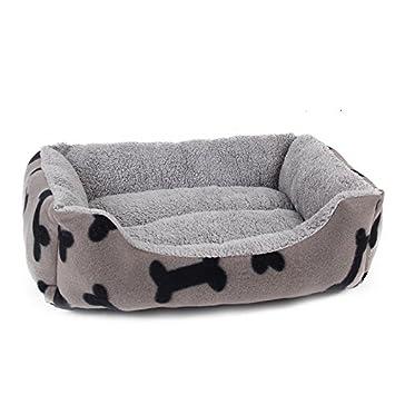 HUBINGRONG Corto de Felpa Estilo Simple Interior Rectangular Cama para Perro Cama para Mascotas con Impresiones