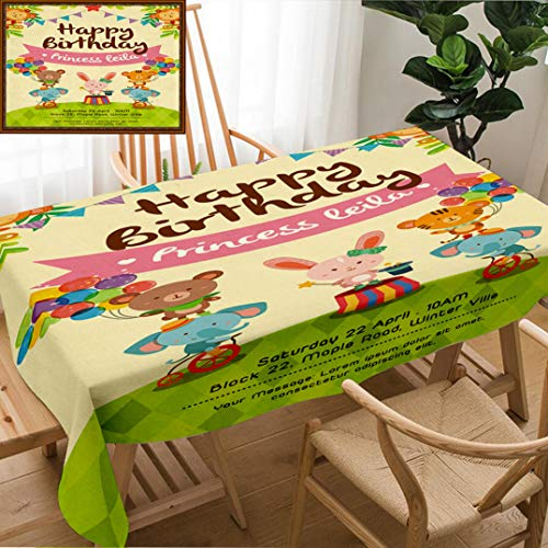Skocici Unique Custom Design Cotton and Linen Blend Tablecloth Colorful Birthday Invitation Card with Cute Circus Animals On Grass Set TwoTablecovers for Rectangle Tables, Large Size 86