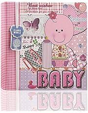 Arpan - Álbum de fotos de bebé para 200 fotos de 6 x 4 fotos con notas rosas para niña, álbum de regalo perfecto para amigos y familia con bolsillo para CD/DVD