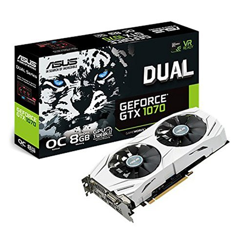ASUS NVIDIA GeForce GTX 1070 8 GB DUAL OC VR Ready White Graphics Card (DUAL-GTX1070-O8G)