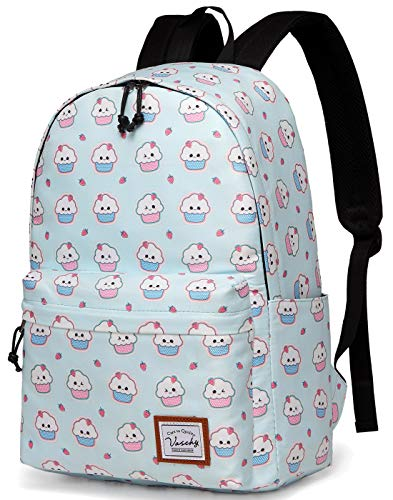 Backpacks for Girls,VASCHY Cute Lightweight Casual Water-Resistant School Daypack 14in Padded Sleeve in Ice -