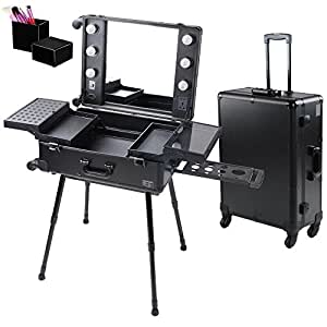 AW 4-Wheel Rolling Studio Makeup Case w/ Light Adjustable Black Artist Cosmetic Case Leg Mirror Train Table