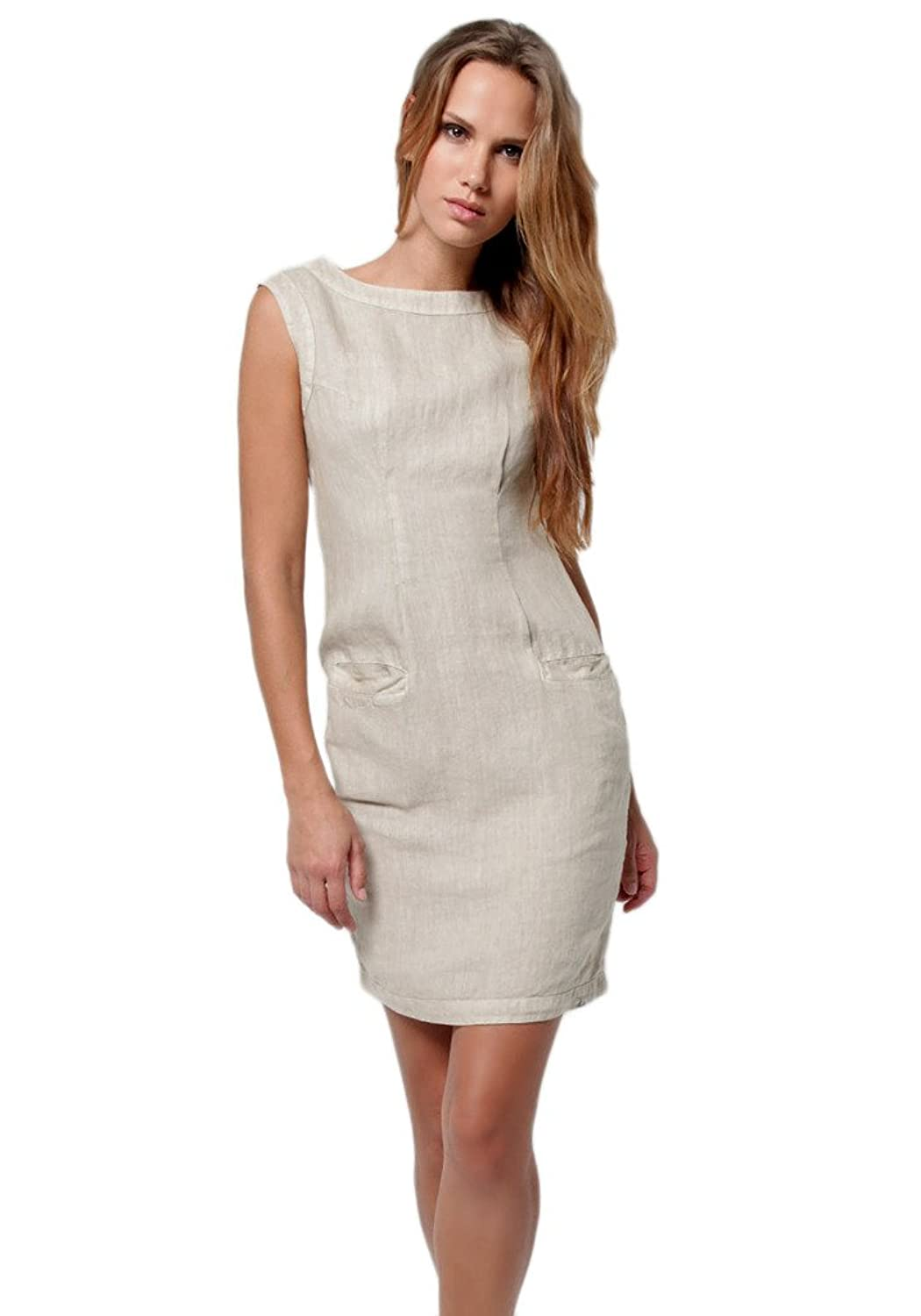 Claudio Milano Women's 100% Linen Fitted Dress with Pockets