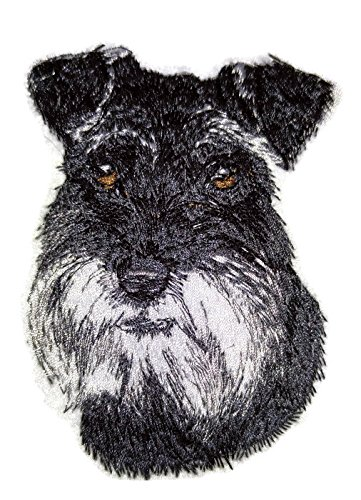 (Amazing Dog Faces[ Schnauzer Dog Face] Embroidery Iron On/Sew patch [2.94