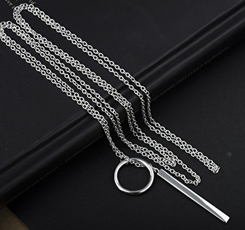 Lariat Bar Necklace Open Circle Y Necklace Vertical Bar Looped Long Necklace