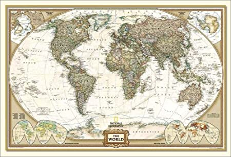 National geographic framed huge executive world map antique style national geographic framed huge executive world map antique style gumiabroncs Choice Image