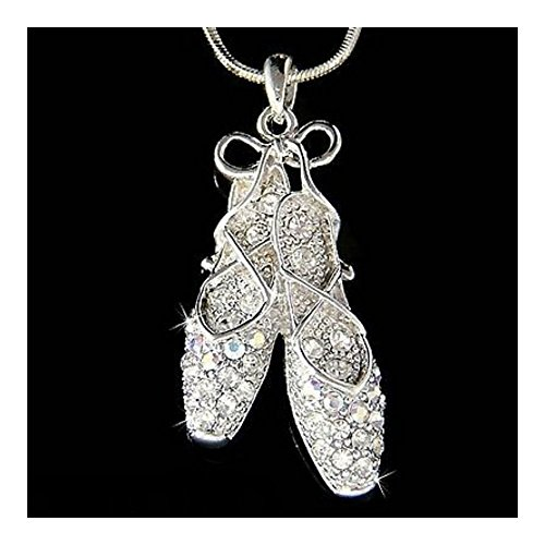 (Swarovski Crystal BALLERINA Slippers Ballet Dance Shoes Jewelry Charm Necklace )