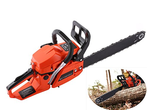 Petrol 62CC 4 HP 20 Inch Cordless Chainsaw of Gasoline Engine, 2 Strokes 2 chains Chain Saw for Craftsman Outdoor Garden Yard with Single Cylinder Cutting Wood [US Stock] by ferty