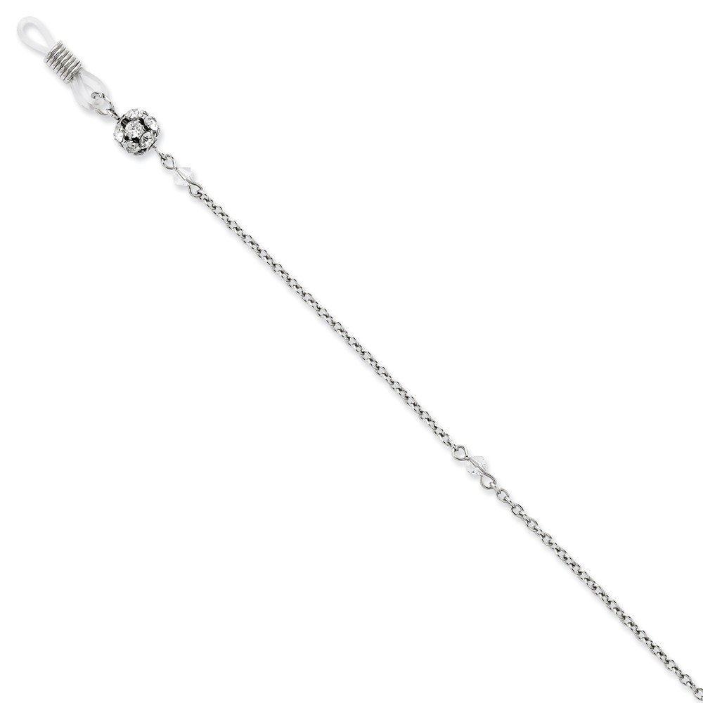 FB Jewels Silver Tone with Clear Crystal 30In Eyeglass Holder Chain