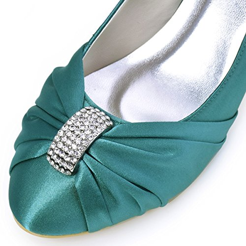 ElegantPark HC1526 Women Pumps Mid Heel Rhinestones Closed Toe Satin Evening Prom Wedding Shoes Teal jZcPc8Bk6