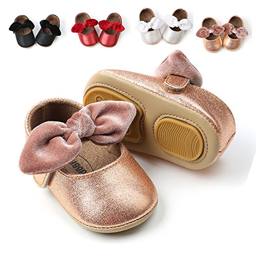 Antheron Baby Girls Non-Slip Mary Jane Flats with Bowknot Toddler First Walker Sandals Princess Dress Shoes (Champagne Gold,6-12 Month)