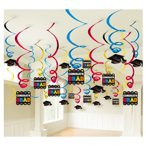 Congrats Grad! Graduation Party Caps and Swirls Ceiling Decoration, Paper, Pack of - Ceiling Hanging Paper