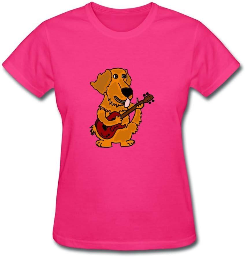 CathDennis Best Camiseta para Mujer, diseño de Guitarra, Color Gris y Dorado