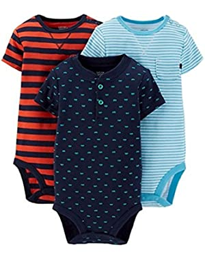 Carter's Just One You Baby Boys' 3 Pack Print and Stripe Bodysuits Multi Color