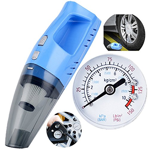 Vacuums 12V Car Cleaner Mini Handheld 100W High Power Super Suction Wet and Dry Dual 4.2M Power Cord Inflatable Test tire Pressure Absorbent (Color : Blue) ()