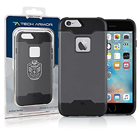 Apple iPhone 6S Case, Tech Armor Apple iPhone 6S / iPhone 6 (4.7-inch) Space Gray/Black Active Series Rugged (Iphone 6 Case Armor Rugged Black)