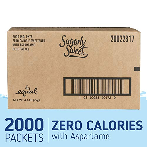 Price comparison product image SUGARLY SWEET Zero Calorie Sweetener Packets with Aspartame,  Sugar Substitute,  Sugar Alternative,  Blue Sweetener Packets,  2, 000 Packets