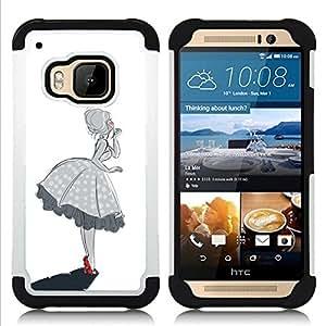 """HTC One M9 /M9s / One Hima - 3 en 1 impreso colorido de Altas Prestaciones PC Funda chaqueta Negro cubierta gel silicona suave (Chica Campana Sur Mujer Negro Blanco"""")"""