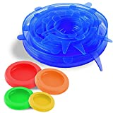 Silicone Stretch Lids Set (6pc) | Includes 4pc. Food Huggers Silicon Food Savers | Reusable Eco-friendly Dishwasher & Freezer Safe | Keeps Food Fresh, Fits All Containers Sizes & Shapes By GreenFare