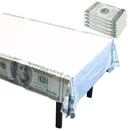 Plastic Table Covers - 6-Pack Casino Money Themed Party Supplies, Disposable Plastic Tablecloth, Hundred Dollar Cash Bills Design, White, 54 x 108 Inches -
