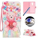 LG Stylus 2 LS775 Leather Case,LG Stylus 2 LS775 Wallet Case,Etsue Cute Pink Bear Balloon Pattern Pu Leather Strap Wallet Flip Case Cover with Stand and Card Slots for LG Stylus 2 LS775+Blue Stylus Pen+Bling Glitter Diamond Dust Plug(Colors Random)-Pink Bear Balloon