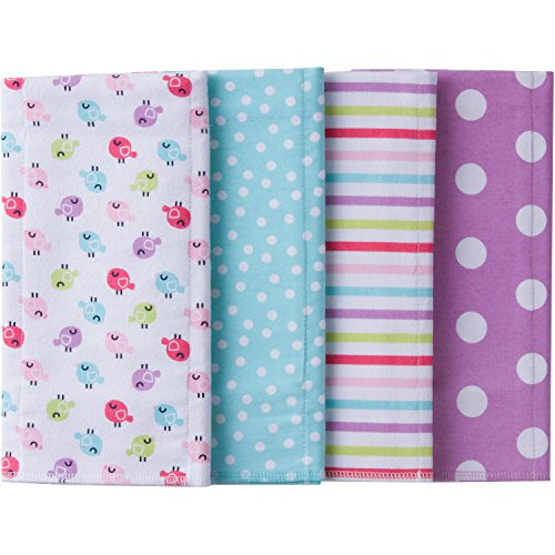 - Gerber Baby 4 Pack Flannel Burp Cloth, Birdie, One Size